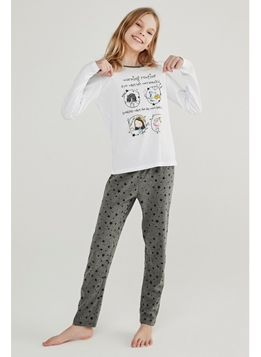Penti Kız Çocuk Çok Renkli Teen Routine 2'li Pijama Takım PNU4CQIT20SK Renkli